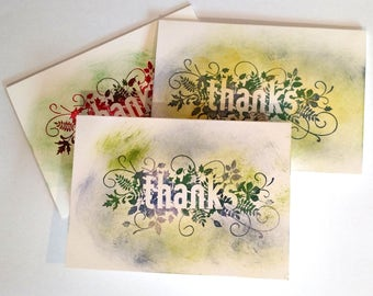 Thanks Note Cards, Set of Three, Thank You, Teacher Gift, Thinking of You, Happy Birthday, Handmade, Unique, Special, Leaves