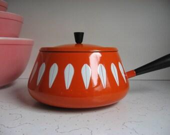 Vintage Cathrineholm Orange/White Lotus Design Fondue Pot, Danish Modern Enamelware, Enamel Pot