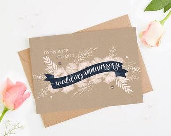 Wife Wedding Anniversary Card Navy Blush Banner