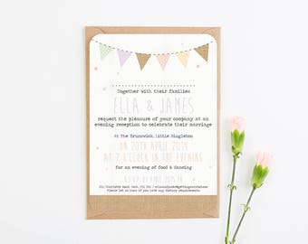 Burlap Pastel Bunting Evening Invite