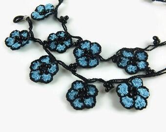Eye Glasses Chain, blue Oya Flowers Black Flower Crochet Beaded Eye Glass Necklace, Turkish Oya Crochet, Gift for Grandma