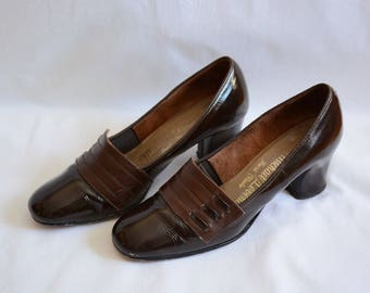 1960's shoe, 1960's high heels, vintage brown shoe