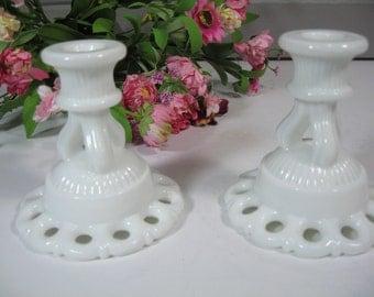 Westmoreland Candle Holders, Milk Glass Candle Holders, Wedding Milk Glass