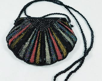 Beaded Purse, Black with Rose, Silver and Multi Colored Beads, Starburst, Striped, Ribbed,  Shoulder Strap, Zippered