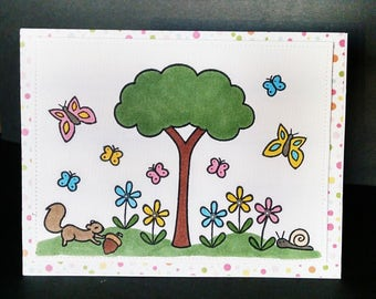 Blank Note Card with Hand Stamped and Colored Butterflies and Flowers - Note Card with Meadow Scene - Blank Inside