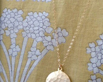 Gold hammered disc necklace, Long Gold necklace, Circle charm, Delicate Long Necklace, layered necklace.
