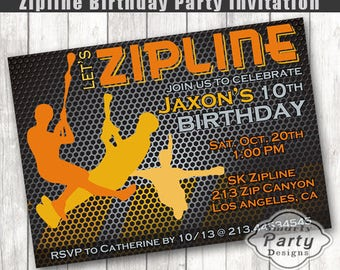 Zipline Birthday Invitation Boy Party Invite Printable Personalized 4 X 6 Or 5 7