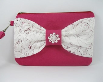 SUPER SALE - Fuchsia with White Lace Bow Clutch - Bridal Clutches, Bridesmaid Wristlet, Wedding Gift - Made To Order