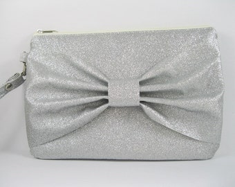 SUPER SALE - Silver Glitter Bow Clutch - Bridal Clutch, Bridesmaid Clutch, Wedding Clutch, Wedding GIft - Made To Order