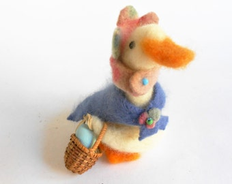 Needlefelted goose duck bird animal toy with basket and egg fiber art sculpture felted wool toy