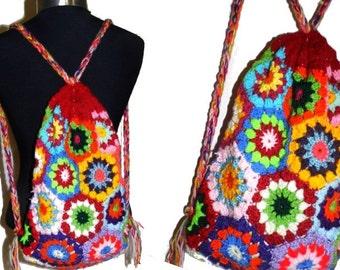 CROCHET PATTERN *MultiColoR upcycled HeXagoN BACKBAG* e-Book, instant download, pdf-datei, crochet backbag,