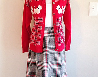 Vintage Black and Red Plaid Houndtooth Skirt Mid Century