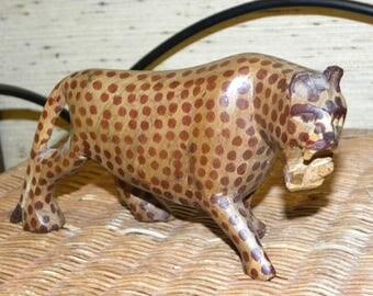 Vintage Handcarved Wooden Leopard from Kenya