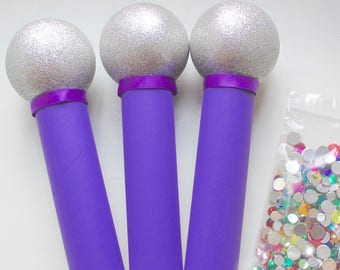 Kids Craft Kit, DIY, Bling Your Microphone Craft Kit, for Pop Star Party, Purple Set of 3
