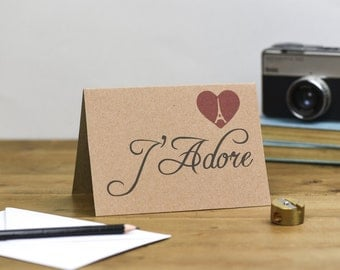 J'Adore Valentine's Day or Wedding or Anniversary Card