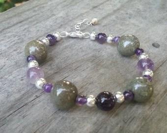 Memorial Bead Bracelet - Custom Keepsake Stoneware Pottery Pet Cremains Jewelry - GEM-STONES Beaded Bracelet