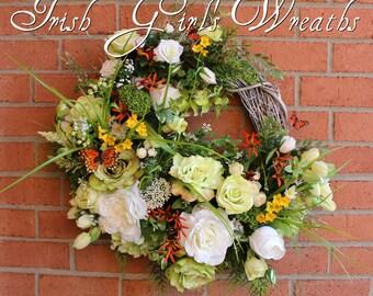 Large St Patrick's Cottage Garden Wreath, Irish Primrose, Green White Spring Wreath, Shamrock, clover, thistle, tulips, Hydrangea