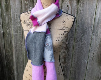 Cashmere Scarf - Valentine's Day Gift for Her - Fuchsia Pink Grey - Recycled Sweaters - Gifts Under 50 - Long Scarf - Paisley Print