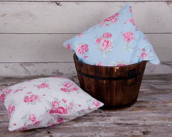 Decorative shabby chic pillow cover, cushion cover, flowers, roses