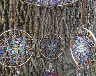Fox Glove Hand Woven Bohemian Dream Catcher Mobile in Silver by The Emerald Lotus