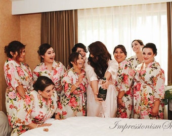 Set of 9, Bridesmaids Robes Cheap, Kimono Crossover Robes Spa Wrap Perfect bridesmaids gift, getting ready robe, Bridal shower party favors