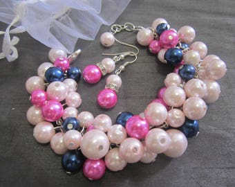 Blush, Navy Blue and Hot Pink Pearl Bracelet, Chunky Cluster Bracelet, Navy and Pink Wedding, Bridal, Bridesmaid Jewelry