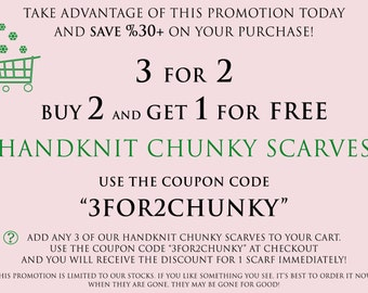 3 For 2 Handknit Chunky Scarves Promotion