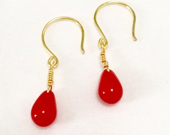 Red Teardrop Earrings / Coral Drop Earrings / Red Drop Earrings / Gold Drop Earrings / Gold and Red / Red and Gold / Deep Coral Earrings