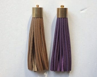 """Faux leather tassels with brass end caps and small loop, TWO tassels, one purple, one tan, 8cm/3 1/4"""" tassels for bags, jewelry - 2 pcs."""