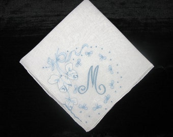 Something borrowed something blue, madeira Embroidered Handkerchief Blue Initial M Hankie
