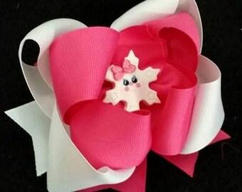 Snowflake Hair Bow...Snowflake Bow...Pink and White Bow...White and Pink Bow...Winter Hair Bow ....Pink Snowflake Hair Bow