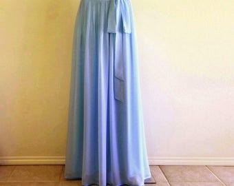 Blue Jay Bridesmaid Skirt. Long Party Skirt. Blue Jay Maxi Skirt. Chiffon Evening Skirt. Floor Length Skirt.
