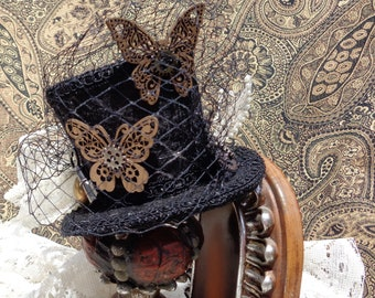 Butterfly Steampunk Mini Tophat fascinator/hairclip for steampunk costume, victorian, halloween