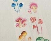1 Roll Japanese Washi Masking Paper Tape - Colorful Mushroom