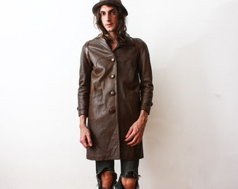 Vintage 1960s Brown Aged Leather Jacket Coat Boho Worn Out Rusty Leather Coat slim Fit Unisex