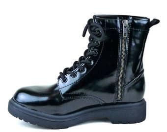 Shiny Black Combat Moto Boot Vintage New/Old Size 8