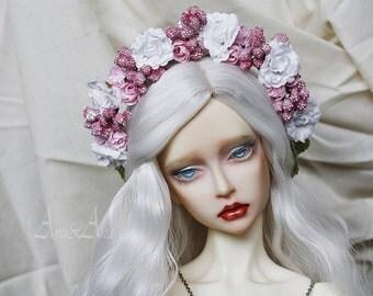 Pink Swetness flower handmade headband wreath corolla for bjd dollfie sd 8-10 inch size dolls heads
