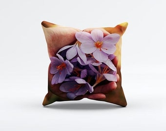 Purple Flowers Pillow Cover 15 x 15 inch, Floral cushion cover, Decorative Pillow Cover, Home decor