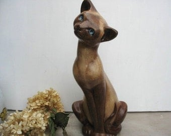 Large Vintage Siamese Chalk Ware Cat Statue Stylized Kitty Cat Figurine Floor Statue