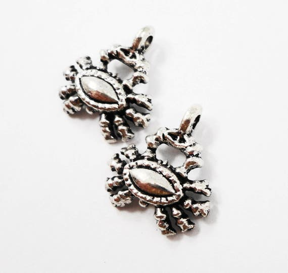 Antique Silver Crab Charms, 16x15mm Small Silver Crab Pendants, Cancer Charms, Zodiac Charms, Silver Metal Charms, Craft Supplies, 10pcs