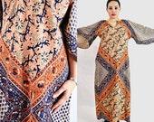VTG-60s/70s, Vintage, 1960s Cotton, Orange, Purple, Maxi Tunic Dress, Loose Fit, Boho Style Dress Size - Small Medium Large S M L