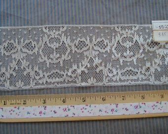 Antique French 1920s Salesman Sample Ivory Alencon Tulle Net Floral Detailed Embroidered Lace Edwardian Victorian Dress Trim Flapper Doll