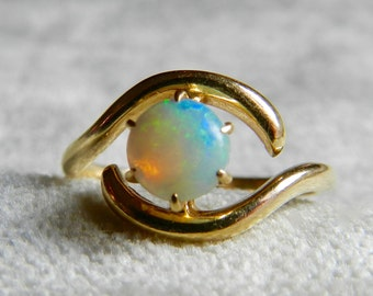 Vintage Opal Ring Gold Australian Opal Engagement Ring Unique Engagement 10K Gold October Birthstone Gift for Women Libra