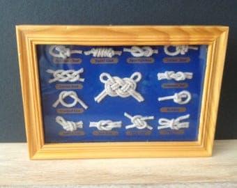 SALE! vintage Nautical ship sailor rope knots shadow box