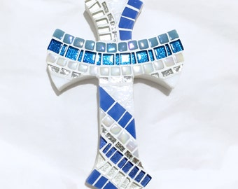 Wall Cross for Boy, Baptism Gift for Godchild, Baptism Gift for Boy, Mosaic Cross, Blue with Silver, Baptism Cross, Personalized Cross