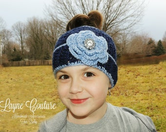 CLEARANCE!! Ready to Ship!! Navy and Light Blue Child and Adult Winter Hat With Pony Tail Hole and Flower  / Tennessee Titans