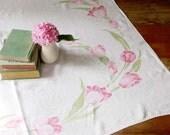 Vintage Linen Tablecloth, Cottage Style Linen Tablecloth, Pink Tulips, Pink and Green Linen Tablecloth, Kitchen Tablecloth, Country Kitchen