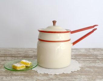 Vintage Enamel Double Boiler, White Enamel Double Boiler with Red Trim, Retro Kitchen, Farmhouse Kitchen, Country Kitchen, Enamelware