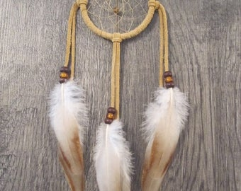 ON SALE Dream Catcher Buckskin Suede with Rooster Feathers ~ Cruelty Free