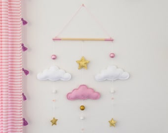 Pink x White X Gold Nursery Mobile - Clouds and Stars